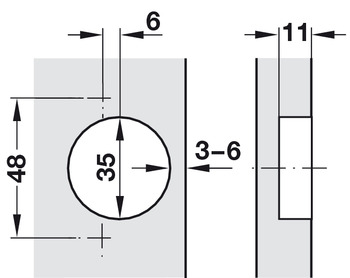 Concealed hinge, Häfele Duomatic 120°, for –45° corner application