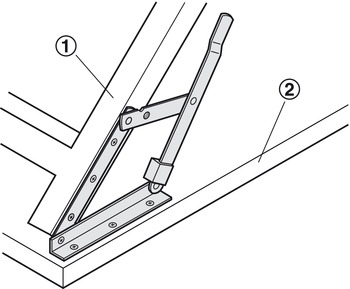 Folding bracket, folding, for tables and benches, folding table fittings