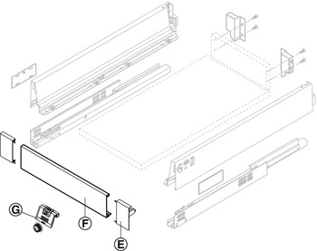 Front fixing bracket set, Tandembox antaro, drawer side height 83 mm, for internal drawer box with railing
