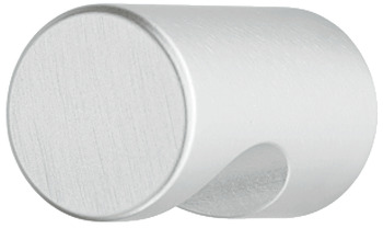Furniture knob, aluminium, cylindrical, with recessed grip