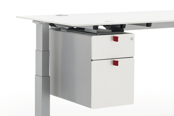 Pedestal, with system drawer and suspension file drawer, large