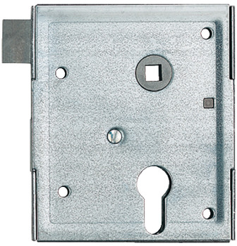Rim lock, for hinged doors, profile cylinder, backset 60 mm