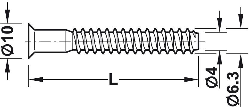 264.47.191 Hafele monobloc avec connecteur Ø 15 mm Tête Pour Ø 5 mm drill hole