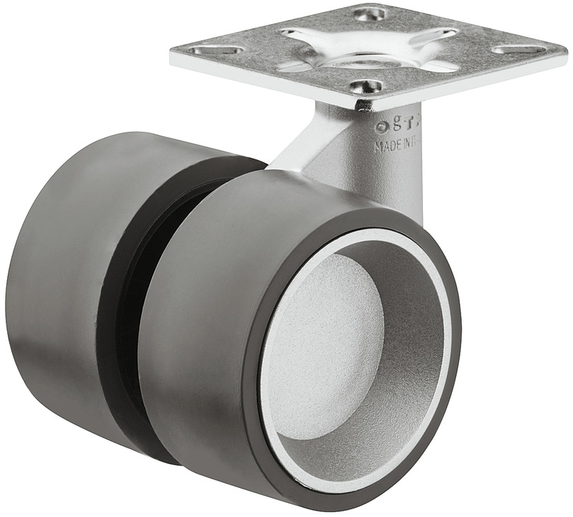 Details about  /Twin Wheel Swivel Castor Hooded Ø 50mm Plate Fixing Load Capacity 45 kg